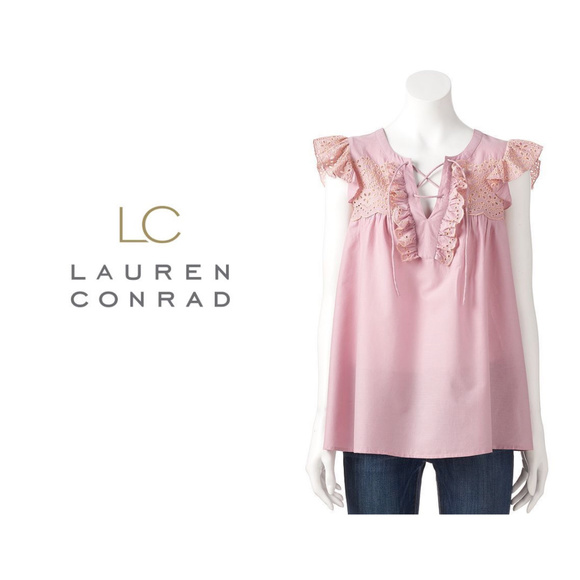 055b2b72aa0f0 LC Lauren Conrad L Pink Lace Up Eyelet Peasant Top